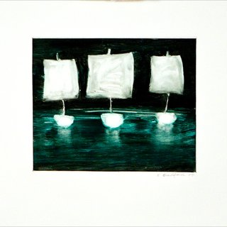 Three Ships, Green Emerald art for sale