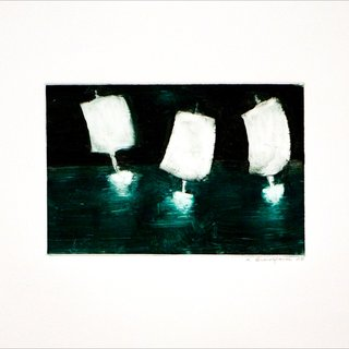 Katherine Bradford, Three Boats, Small I