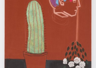 Katie Halton - Studio Still Life (Party Cactus, brain poster and Jay's flowers)