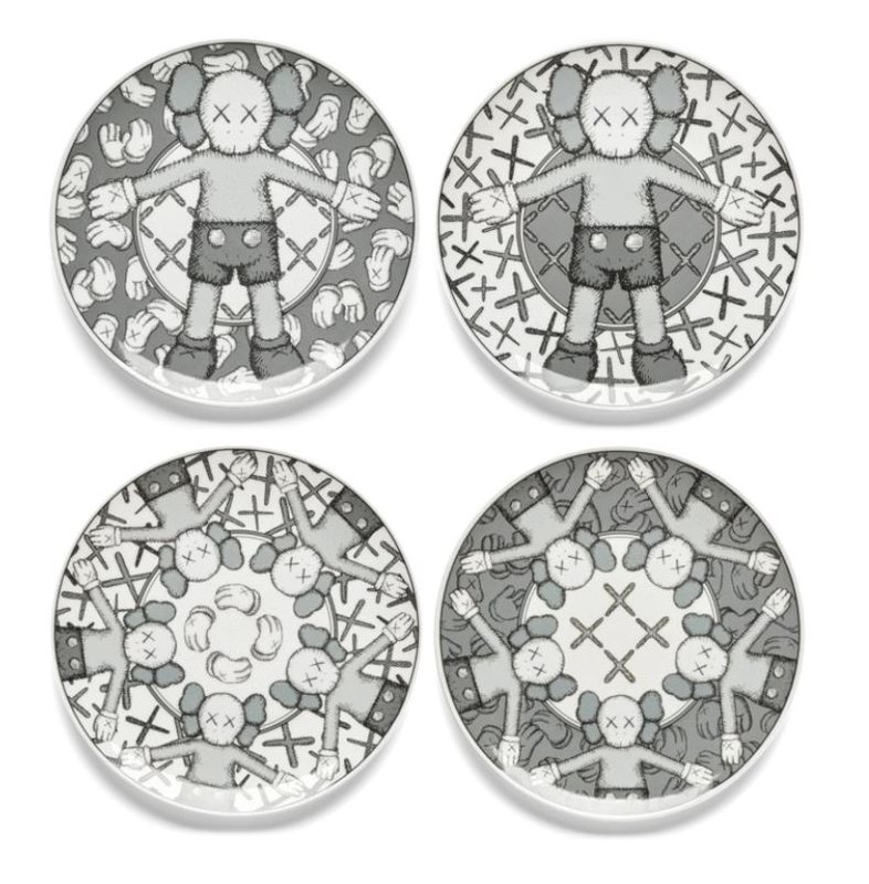 by kaws - Limited Ceramic Plate Set - Grey (Set of 4)