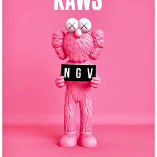 KAWS x NGV BFF Poster (Pink) art for sale