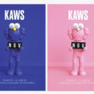 KAWS x NGV BFF Poster set (1 x Blue, 1 x Pink) art for sale