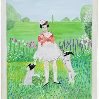 Girl With Dogs art for sale