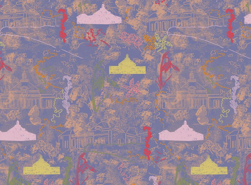 Marc Camille Chaimowicz's Pavilion wallpaper of the Maharam Serpentine Galleries Wallpaper collection