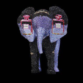 "ELEPHANT SMALL ""CHANEL NO. 5 IN PURPLE"" FEAT. WARHOL art for sale"