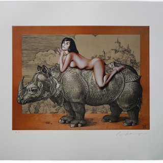Leta on Durer's Rhino art for sale