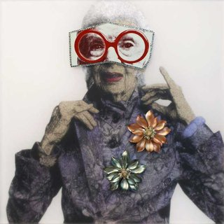 Mickalene Thomas, Portrait of Iris with Red Glasses