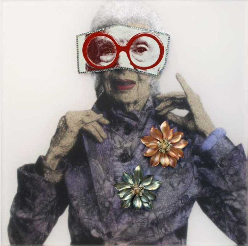 main work - Mickalene Thomas, Portrait of Iris with Red Glasses