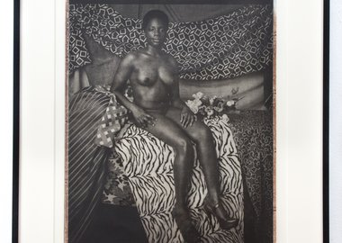 work by Mickalene Thomas - Portrait of Marie Sitting in Black and White