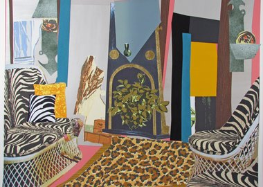 Mickalene Thomas - Interior: Zebra with Two Chairs and Funky Fur