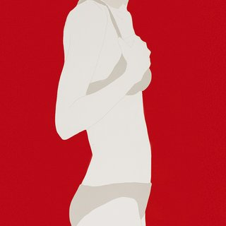 Grey Top and Bottoms on Red art for sale