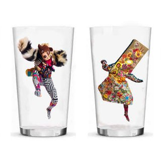 Set of four drinking glasses art for sale