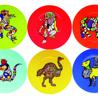 Set of six plates (Rhino, Lion, Ostrich, Camel, Frog, Monkey) art for sale