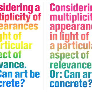 Considering a Multiplicity of Appearances in Light of a particular Apsect of Relevance, Or: Can Art be concrete ? art for sale