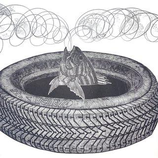 Untitled (Fish and Tire) art for sale
