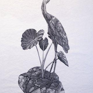 The Islands I Invent Everyday (Heron) art for sale