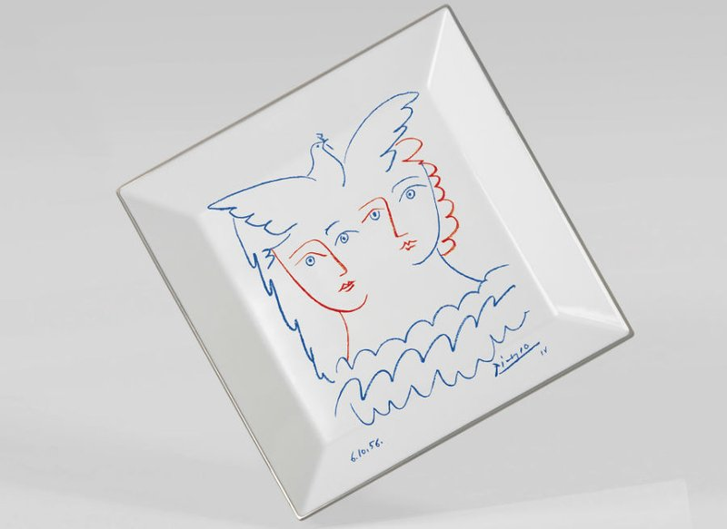 view:2997 - Pablo Picasso, Square plate Two Women with Dove -