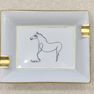 Ashtray with gold Le Cheval art for sale