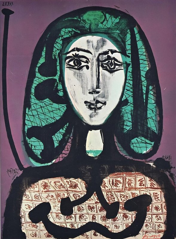 view:29610 - Pablo Picasso, The Woman With A Hair Net - Offset Print 1970s After P. Picasso -