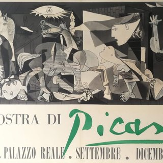 Guernica, Vintage Poster of Exhibition of Picasso at Palazzo Reale, Milano, 1953 art for sale
