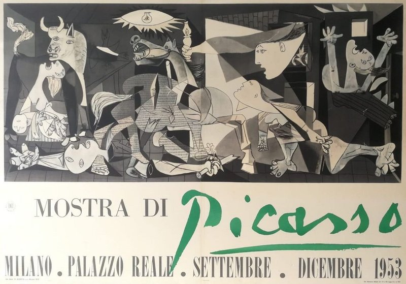 by pablo_picasso - Guernica, Vintage Poster of Exhibition of Picasso at Palazzo Reale, Milano, 1953