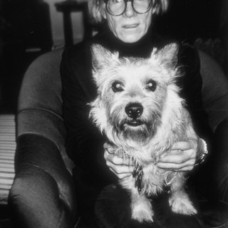 Andy Warhol with Judith Leiber's dog Sterling art for sale