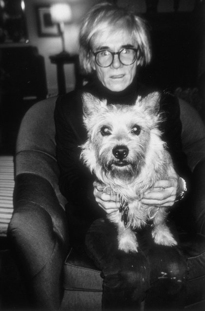 Paige Powell, Andy Warhol with Judith Leiber's dog Sterling