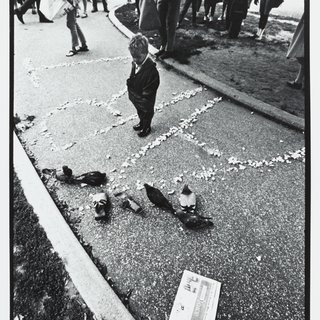 "Peter Moore, Al Hansens's ""Pigeons Eating Art,"" 4th Annual New York Avant Garde Festival, Central Park, NYC, Sept. 9, 1966"