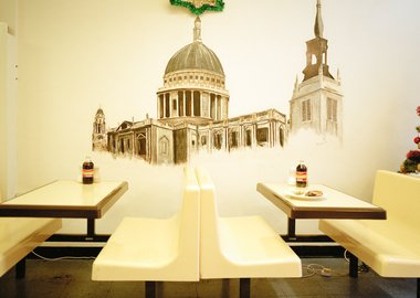 work by Philipp Ebeling - Mural at Pie and Mash Shop, Wood Street, Waltha...