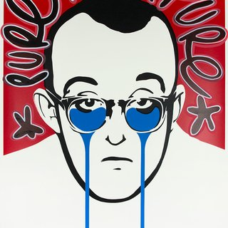 Keith Haring's Nightmare - Pure Pure white outline with black stars art for sale