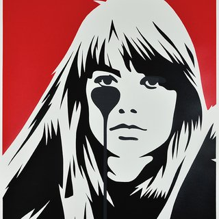 Jacques Dutronc's Nightmare - Françoise Hardy (Red & Black) art for sale