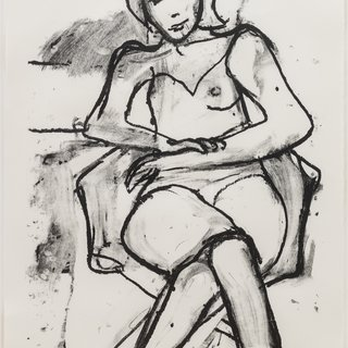 Seated Woman with Hands Crossed art for sale