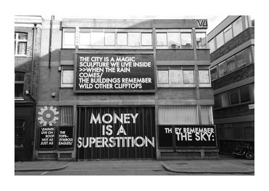 work by Robert Montgomery - Hammersmith Poem Curtain Road Billboard