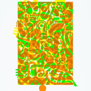 Ryan McGinness, Untitled (Fluorescent Women Parts) 1