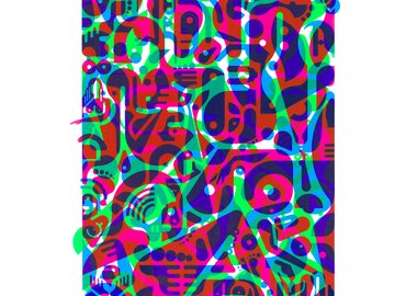 work by Ryan McGinness - Untitled (Fluorescent Women Parts) 2