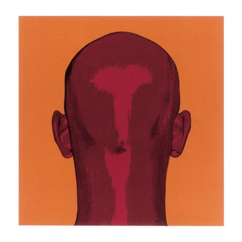 Salomón Huerta Untitled Back Of Head On Orange Field for