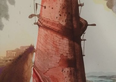 "work by Salvador Dalí - Turris Babel (The Tower of Babel) - From ""Bibli..."
