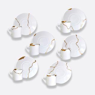Kintsugi - Gift boxed set of 5 assorted espresso cups & saucers art for sale