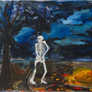 Skeleton Raking Leaves art for sale
