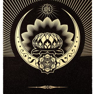Obey Lotus Crescent (Black & Gold) art for sale