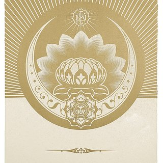 Obey Lotus Crescent (White & Gold) art for sale