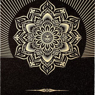 Shepard Fairey, Obey Lotus Diamond (Black & Gold)