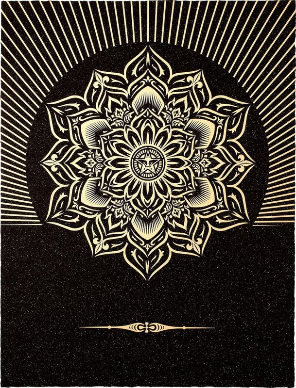 main work - Shepard Fairey, Obey Lotus Diamond (Black & Gold)