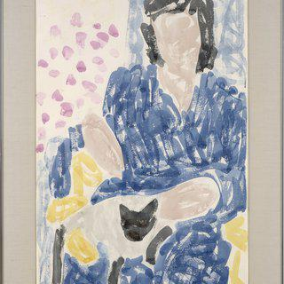 Pam in Blue Robe, Cat art for sale