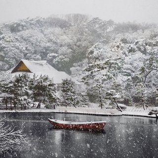 Boat Covered in Snow in Sankei-en Gardens art for sale