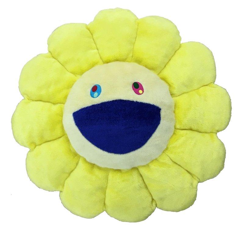 Takashi Murakami Flower Pillow Yellow And White Small For Sale