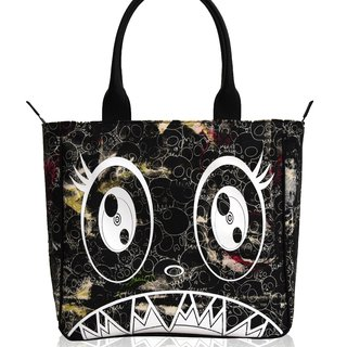 Canvas Handbag - Black skulls / white artwork / embroidered skull interior art for sale