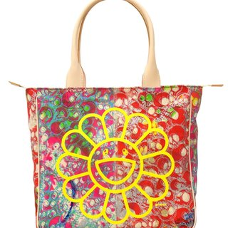 Canvas Handbag - Red skulls / yellow artwork / flowers interior art for sale