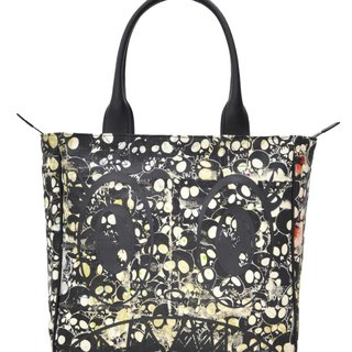 Canvas Handbag - Black skulls / black artwork / embroidered skulls interior art for sale