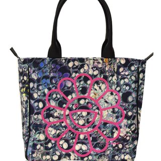 Canvas Handbag - Black skulls / fluorescent pink artwork / blue skulls interior art for sale